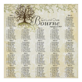 Brown and Green Swirl Tree Reception Seating Chart Poster