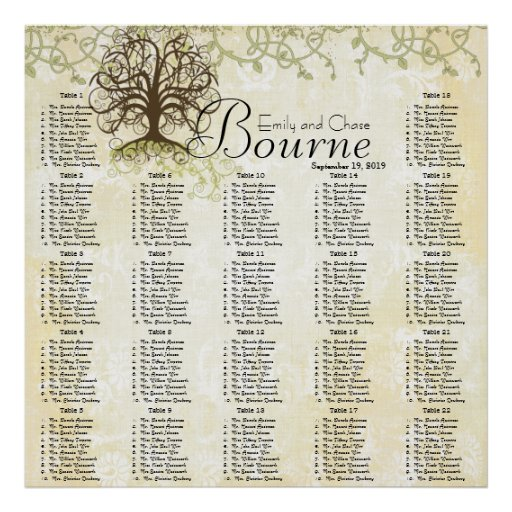Brown and Green Swirl Tree Reception Seating Chart Posters