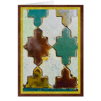 Brown and green tile from Toledo, Spain Card