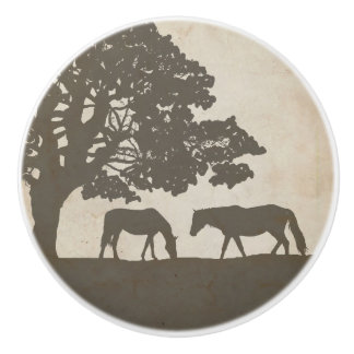 Brown and Ivory Vintage Horse Farm Wedding Ceramic Knob