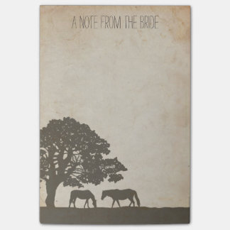 Brown and Ivory Vintage Horse Farm Wedding Post-it Notes