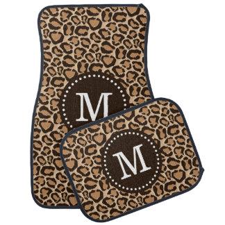 Brown and Leopard Print Custom Monogram Car Mat