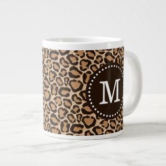 Brown and Leopard Print Custom Monogram Large Coffee Mug