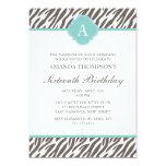 "Brown and Mint Zebra Pattern Monogram 5"" X 7"" Invitation Card"