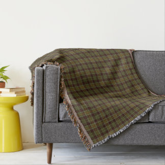 Brown and Moss Green Rustic Plaid Pattern Throw Blanket