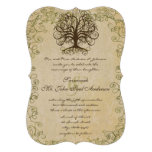 Brown and Moss Green Swirl Tree Vintage Damask Personalized Announcements