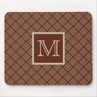 Brown and Natural Geometric Pattern Monogrammed Mouse Pad