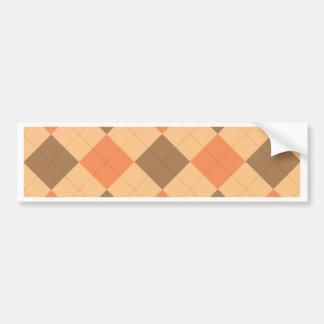 Brown and orange argyle pattern bumper sticker