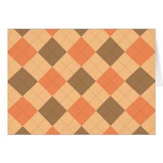 Brown and orange argyle pattern card