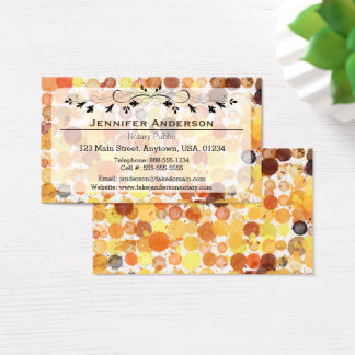 Brown and Orange Watercolor Polka Dot Professional Business Card