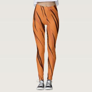 Brown and Orange Wild Tiger Stripes Pattern Leggings