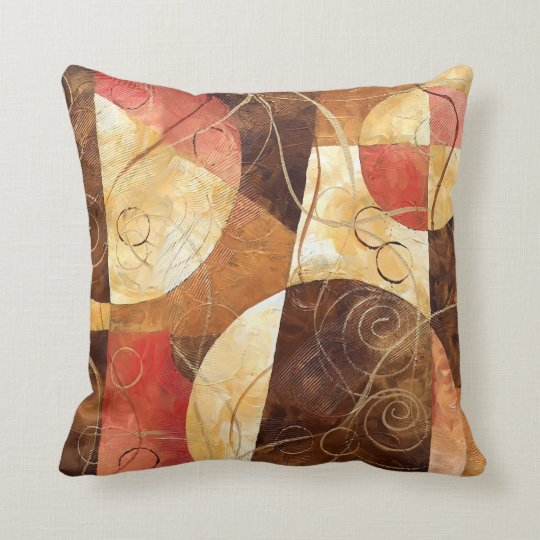 Brown and Pink Abstract Painting Throw Pillow