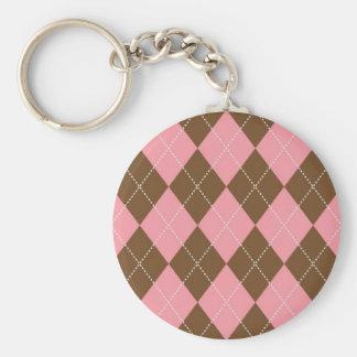 Brown and Pink Argyle Pattern Basic Round Button Keychain