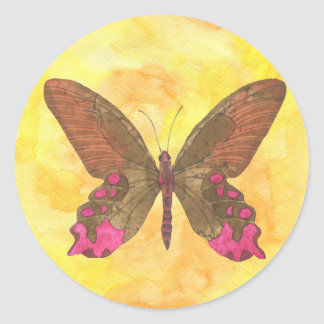 Brown and Pink Butterfly Classic Round Sticker