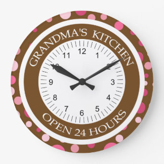 Brown and Pink Dots Grandma's Kitchen Wall Clocks
