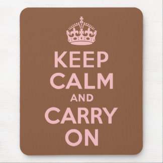 Brown and Pink Keep Calm and Carry On Mouse Pad