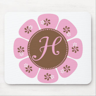 Brown and Pink Monogram H Mouse Pad