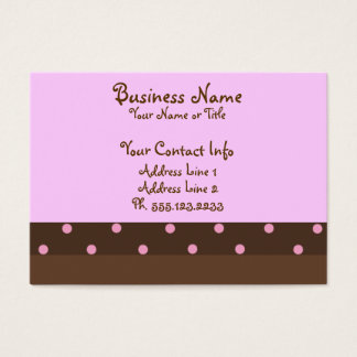 """Brown and Pink Polka Dot """"Chubby"""" Business Cards"""