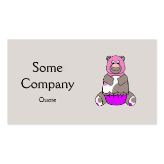 Brown And Pink Polkadot Bear Business Card Templates
