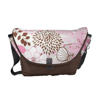 Brown and Pink Spring Garden Messenger Bags