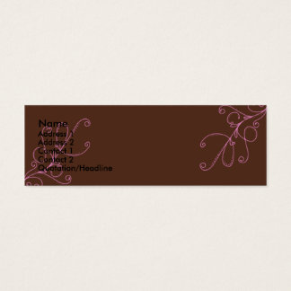 Brown and Pink swirls with Plan Brown Back Mini Business Card