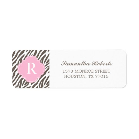 Brown and Pink Zebra Stripes Monogram