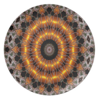 Brown And Purple Abstract Concentric Pattern Plate