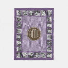Brown and Purple Chevron Pattern Custom Monogram Fleece Blanket
