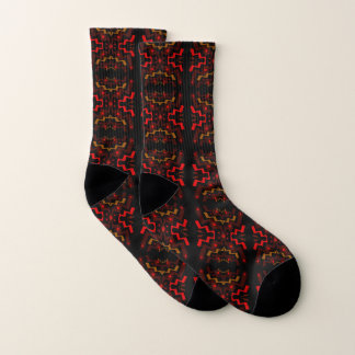 Brown and Red Ethnic Abstract Pattern Socks 1