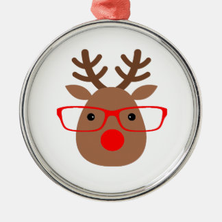 Brown and Red Hipster Reindeer Silver-Colored Round Ornament
