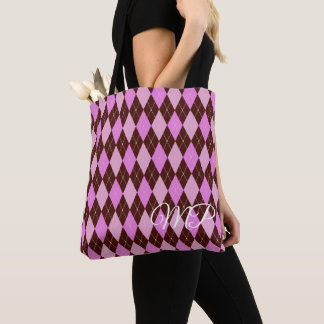 Brown and Shades of Purple Argyle Pattern Tote Bag