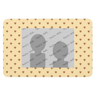Brown and tan - beige heart pattern. Custom Rectangular Photo Magnet