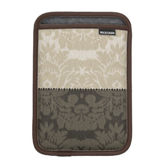 Brown and Tan Faux Linen Damask iPad Mini Sleeve