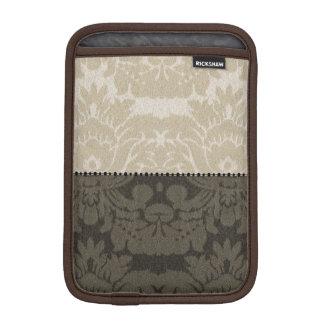 Brown and Tan Faux Linen Damask iPad Mini Sleeve