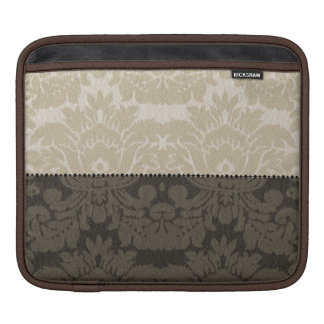 Brown and Tan Faux Linen Damask iPad Sleeve