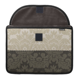 Brown and Tan Faux Linen Damask Sleeve For MacBooks