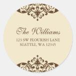 Brown and Tan Flourish Scroll Address Label