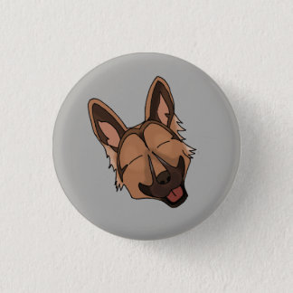 Brown and Tan German Shepherd Dog Smiling 1 Inch Round Button