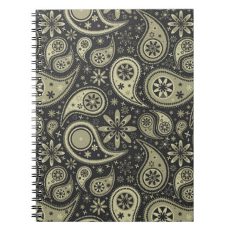 Brown and Tan Paisley Design Pattern Background Notebooks