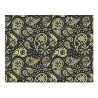 Brown and Tan Paisley Design Pattern Background Postcard