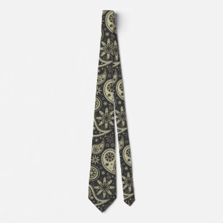 Brown and Tan Paisley Design Pattern Background Tie