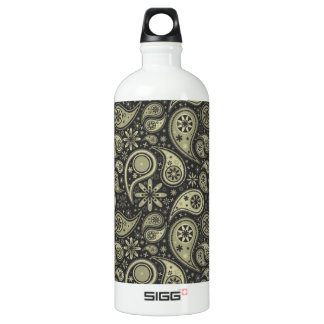 Brown and Tan Paisley Design Pattern Background Water Bottle