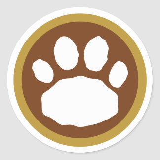 Brown and Tan Paw Print Thanksgiving Classic Round Sticker
