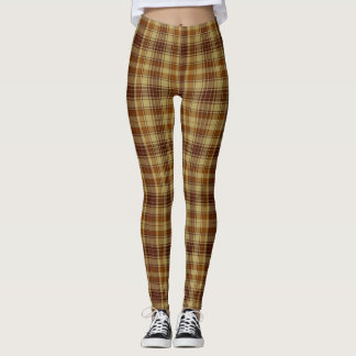 Brown and Tan Winter Plaid Leggings