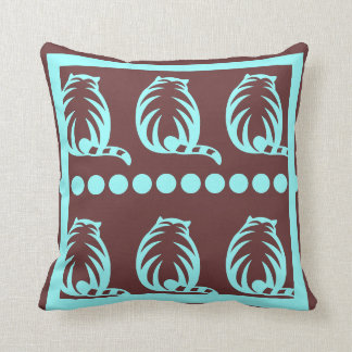 BROWN  and teal CATS  modern  pillow