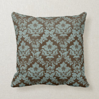 Brown and Teal Distressed 'Damask' Throw Pillow
