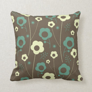 Brown and teal floral pillow