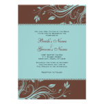 Brown and Teal Floral Swirls Wedding Invitation