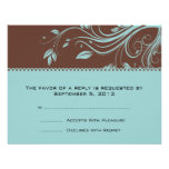 Brown and Teal Floral Swirls Wedding RSVP Invitation