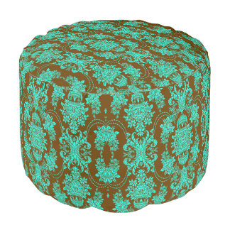 Brown And Teal Green Floral Damasks Pouf